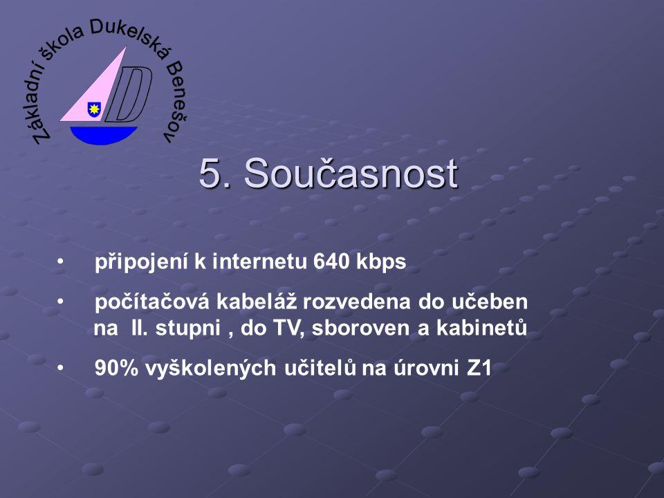 5. Současnost • připojení k internetu 640 kbps • počítačová kabeláž rozvedena do učeben na II. stupni, do TV, sboroven a kabinetů • 90% vyškolených uč