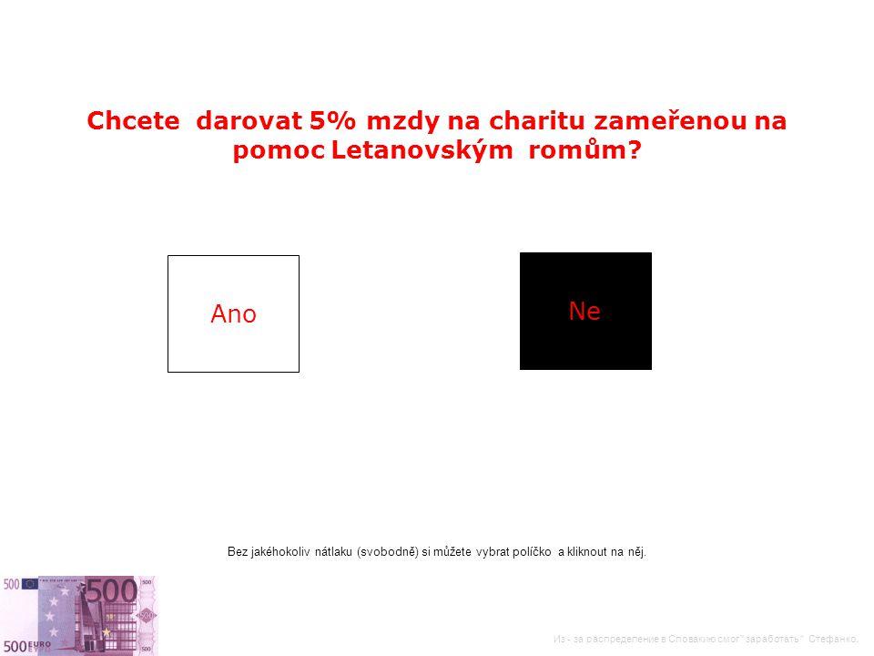Chcete darovat 5% mzdy na charitu zameřenou na pomoc Letanovským romům.