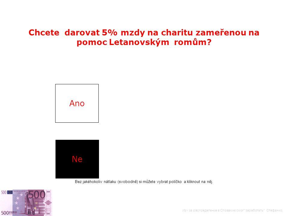 Ano Ne Chcete darovat 5% mzdy na charitu zameřenou na pomoc Letanovským romům.