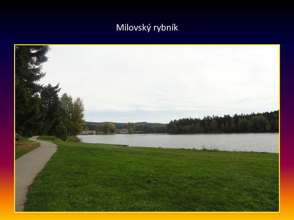 Pohled od rybníku na hotel DEVĚT SKAL
