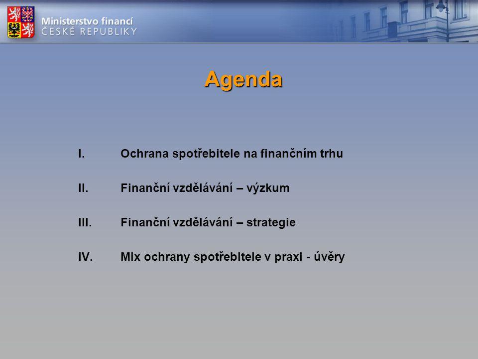 Agenda I.Ochrana spotřebitele na finančním trhu II.Finanční vzdělávání – výzkum III.Finanční vzdělávání – strategie IV.Mix ochrany spotřebitele v praxi - úvěry