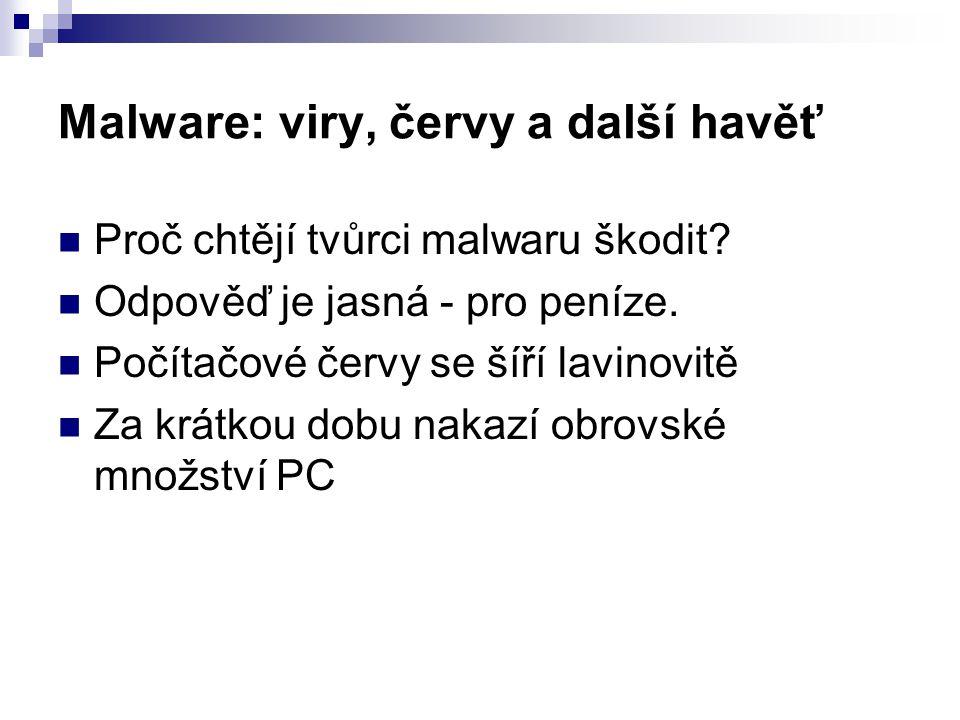 Malware: viry, červy a další havěť  Proč chtějí tvůrci malwaru škodit?  Odpověď je jasná - pro peníze.  Počítačové červy se šíří lavinovitě  Za kr