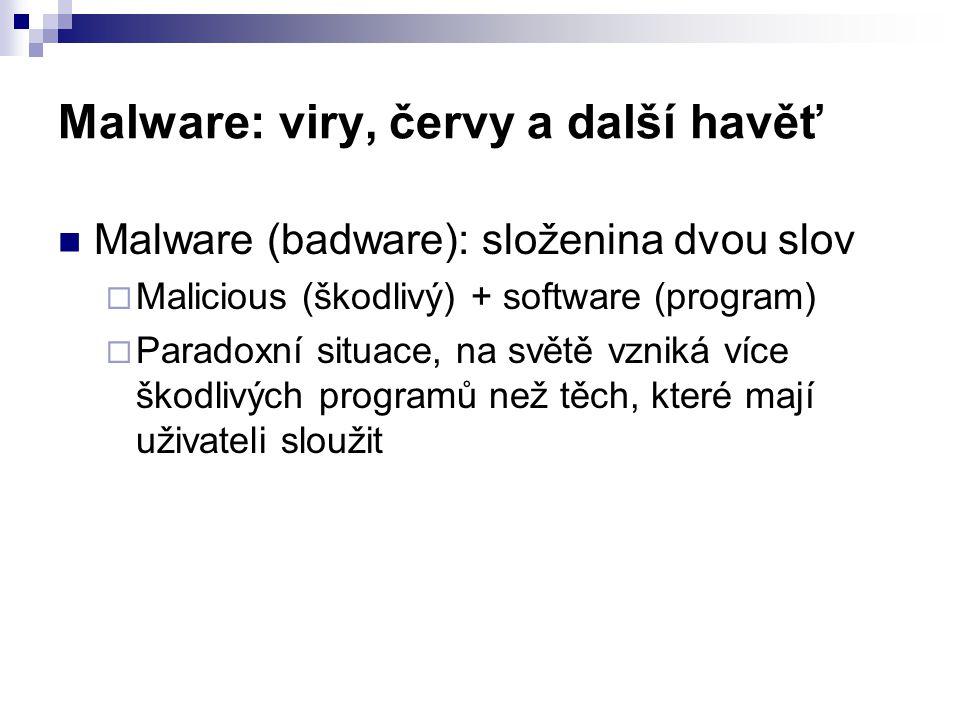 Malware: viry, červy a další havěť  Malware (badware): složenina dvou slov  Malicious (škodlivý) + software (program)  Paradoxní situace, na světě vzniká více škodlivých programů než těch, které mají uživateli sloužit