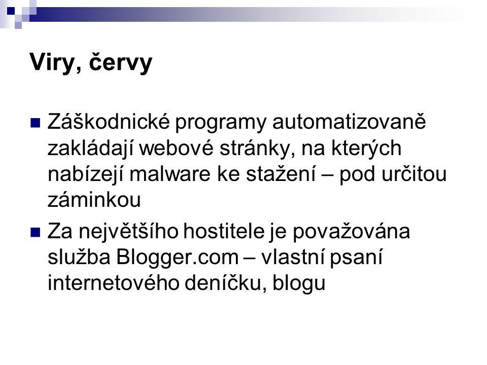 Viry, červy  Záškodnické programy automatizovaně zakládají webové stránky, na kterých nabízejí malware ke stažení – pod určitou záminkou  Za největšího hostitele je považována služba Blogger.com – vlastní psaní internetového deníčku, blogu