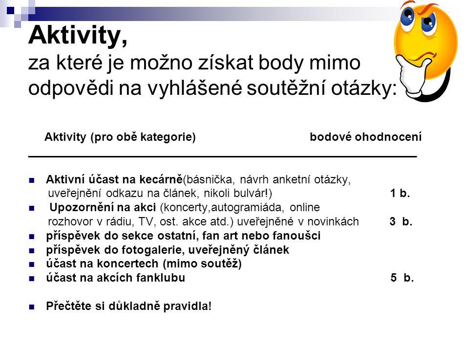 Aktivity, za které je možno získat body mimo odpovědi na vyhlášené soutěžní otázky: Aktivity (pro obě kategorie)bodové ohodnocení ____________________________________________________________  Aktivní účast na kecárně(básnička, návrh anketní otázky, uveřejnění odkazu na článek, nikoli bulvár!) 1 b.