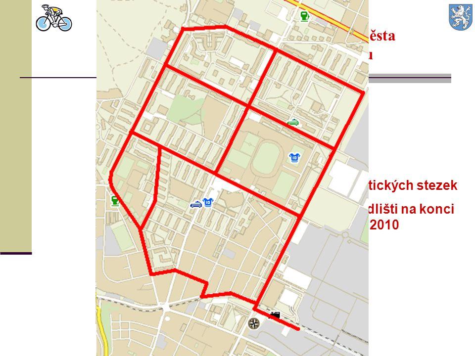 Ucelená síť cyklostezek v intravilánu města po dokončení I. etapy tohoto Návrhu 10,8 km cyklistických stezek v severním sídlišti na konci roku 2010