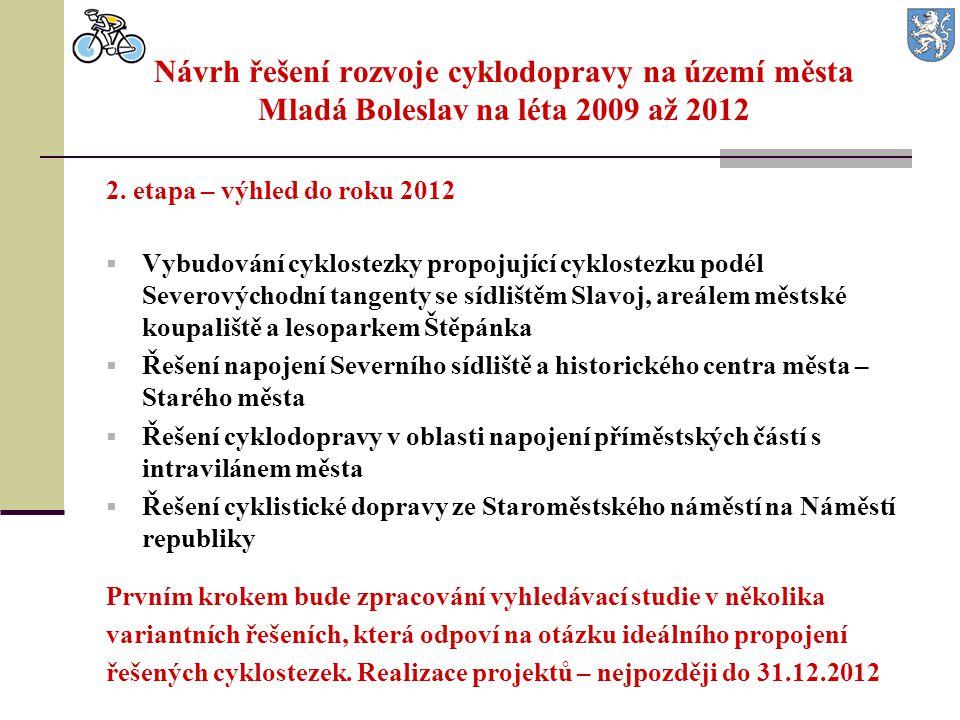 2. etapa – výhled do roku 2012  Vybudování cyklostezky propojující cyklostezku podél Severovýchodní tangenty se sídlištěm Slavoj, areálem městské kou