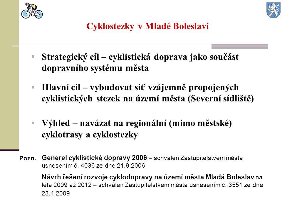 Cyklostezky v Mladé Boleslavi  Strategický cíl – cyklistická doprava jako součást dopravního systému města  Hlavní cíl – vybudovat síť vzájemně prop