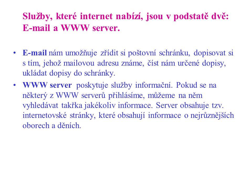 Služby, které internet nabízí, jsou v podstatě dvě: E-mail a WWW server.