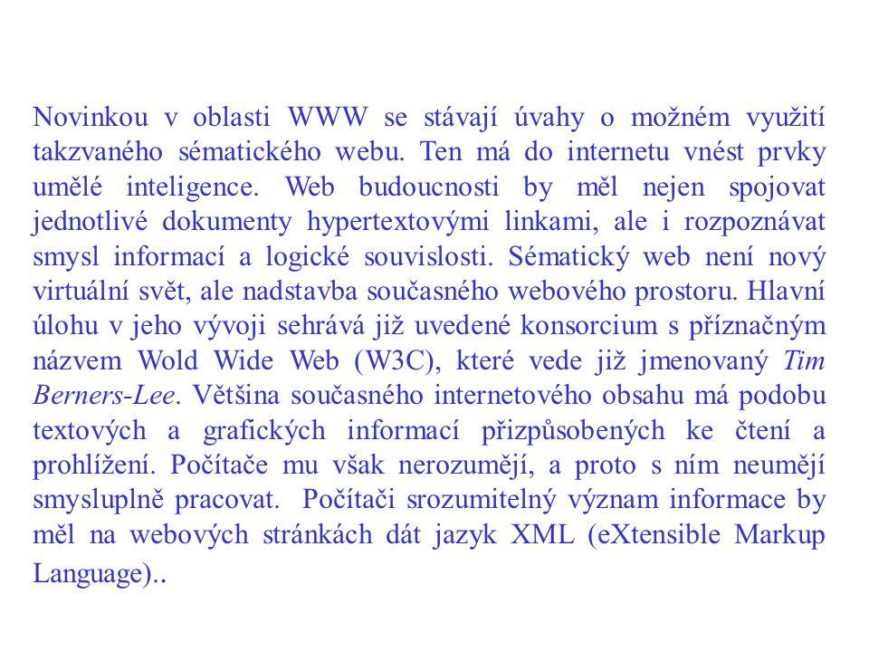 Novinkou v oblasti WWW se stávají úvahy o možném využití takzvaného sématického webu.