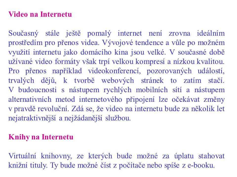 Video na Internetu Současný stále ještě pomalý internet není zrovna ideálním prostředím pro přenos videa.