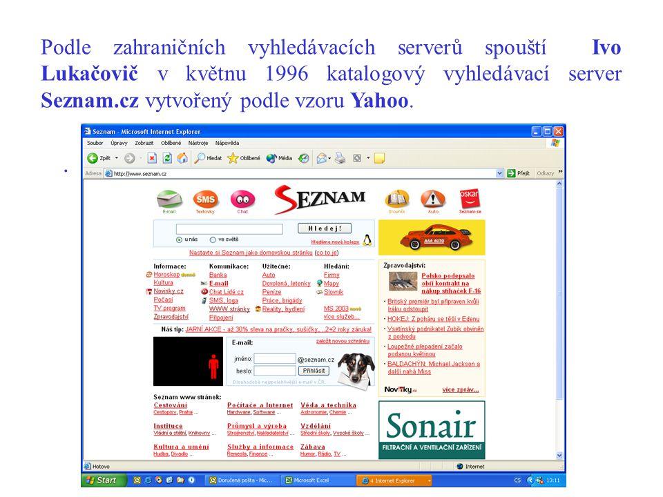 . Podle zahraničních vyhledávacích serverů spouští Ivo Lukačovič v květnu 1996 katalogový vyhledávací server Seznam.cz vytvořený podle vzoru Yahoo.