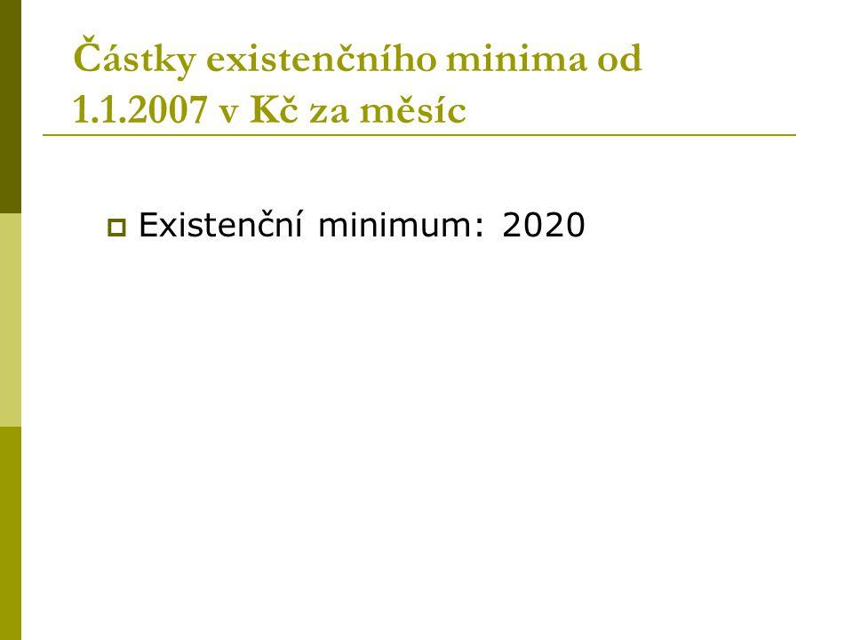  Existenční minimum: 2020 Částky existenčního minima od 1.1.2007 v Kč za měsíc