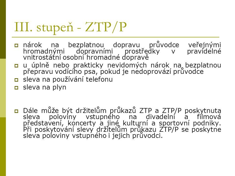 III. stupeň - ZTP/P  nárok na bezplatnou dopravu průvodce veřejnými hromadnými dopravními prostředky v pravidelné vnitrostátní osobní hromadné doprav