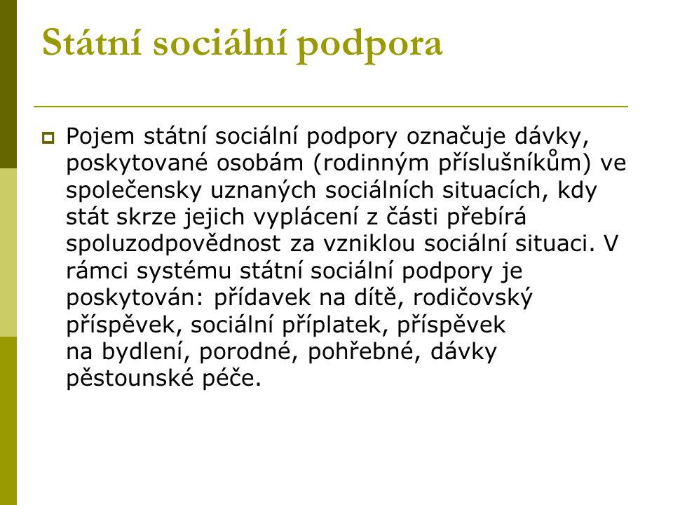 Státní sociální podpora  Pojem státní sociální podpory označuje dávky, poskytované osobám (rodinným příslušníkům) ve společensky uznaných sociálních