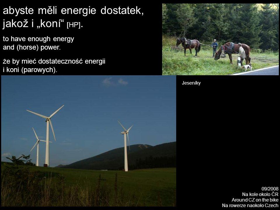 """abyste měli energie dostatek, jakož i """"koní [HP]."""