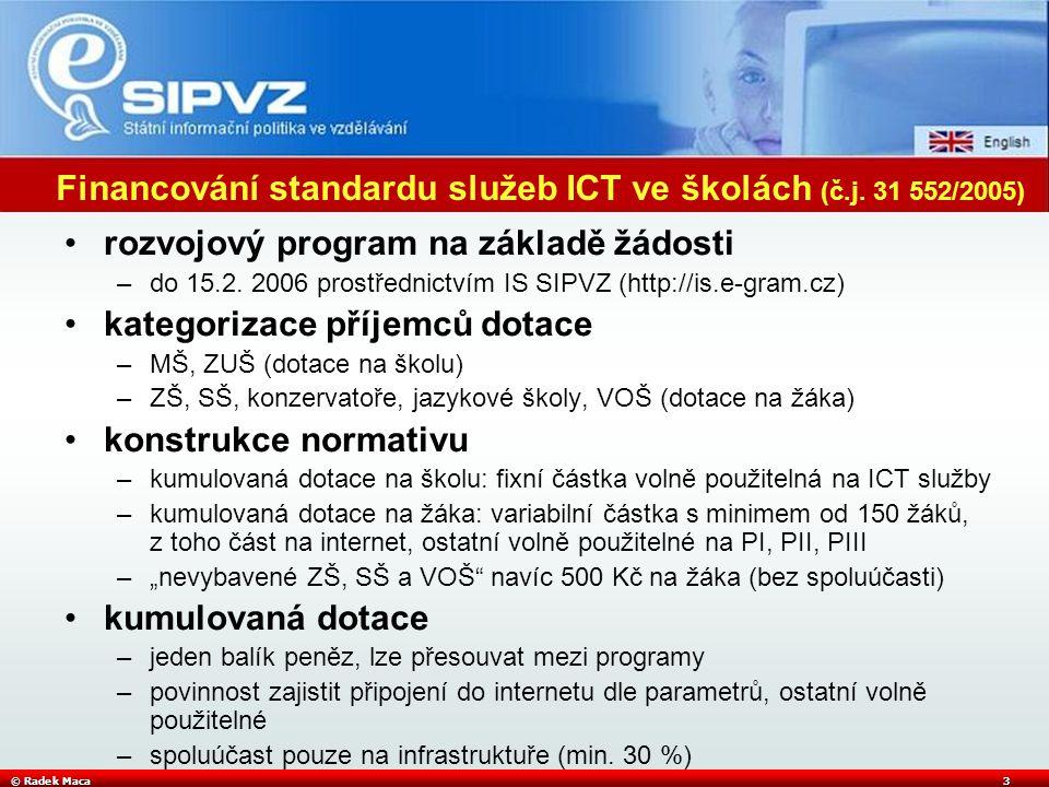 © Radek Maca3 Financování standardu služeb ICT ve školách (č.j.