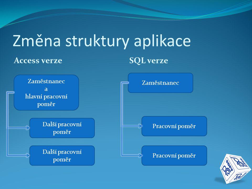 Změna struktury aplikace Access verze SQL verze Zaměstnanec a hlavní pracovní poměr Další pracovní poměr Zaměstnanec Pracovní poměr