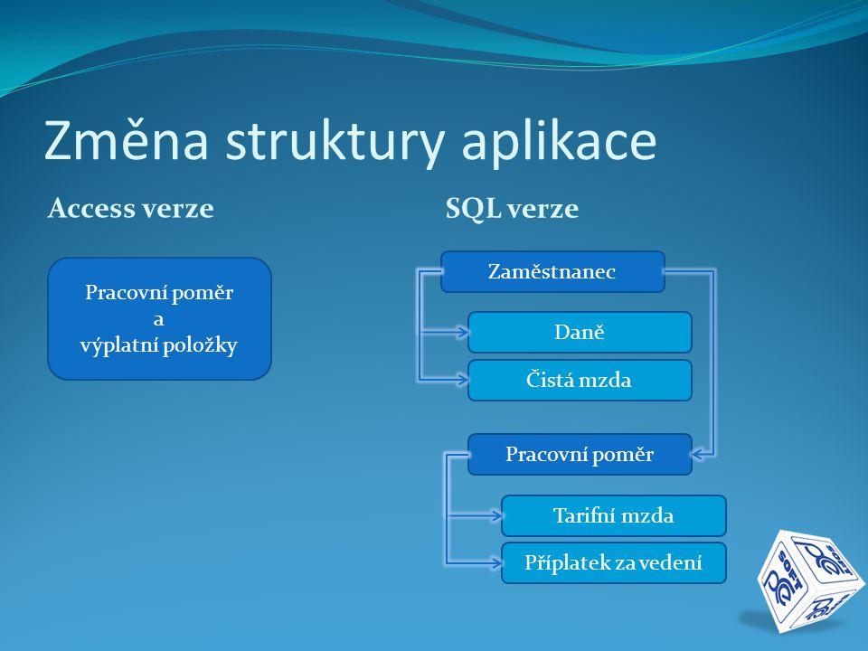 Změna struktury aplikace Access verze SQL verze Pracovní poměr a výplatní položky Zaměstnanec Daně Čistá mzda Pracovní poměr Tarifní mzda Příplatek za