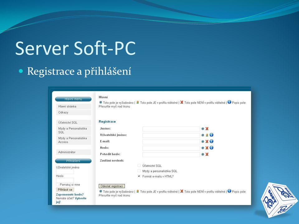 Server Soft-PC  Registrace a přihlášení