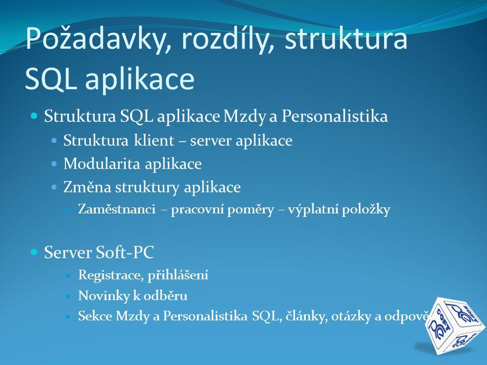 Požadavky, rozdíly, struktura SQL aplikace  Struktura SQL aplikace Mzdy a Personalistika  Struktura klient – server aplikace  Modularita aplikace 
