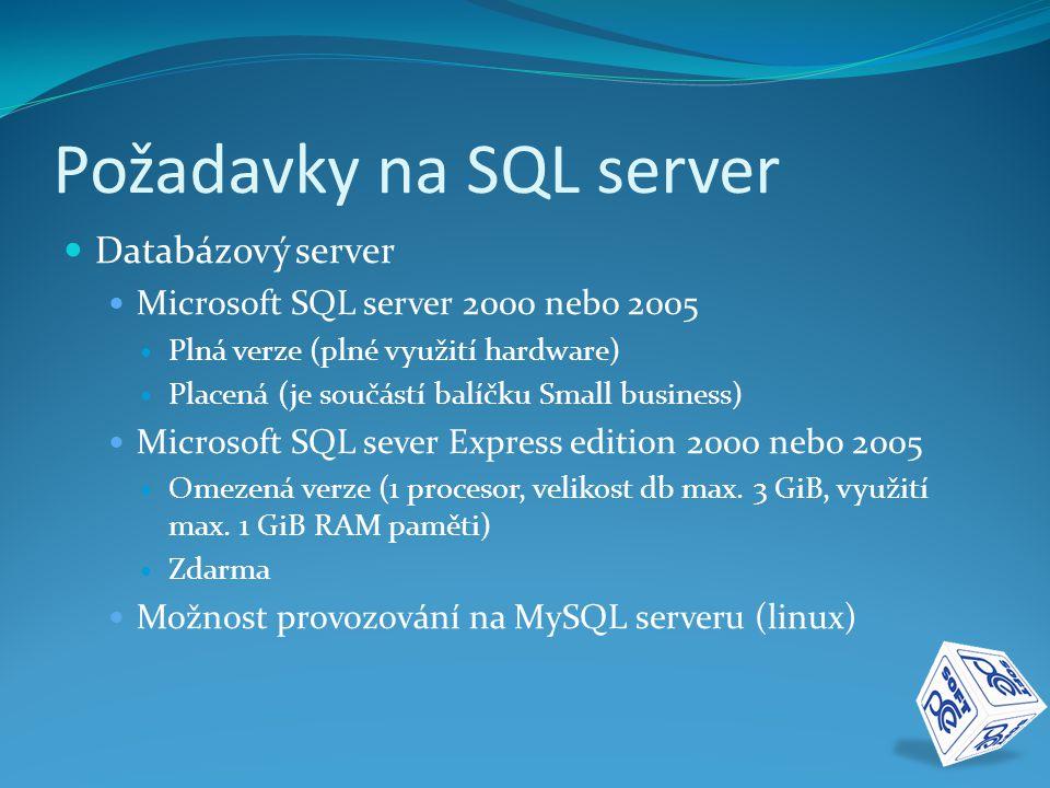 Požadavky na SQL server  Databázový server  Microsoft SQL server 2000 nebo 2005  Plná verze (plné využití hardware)  Placená (je součástí balíčku