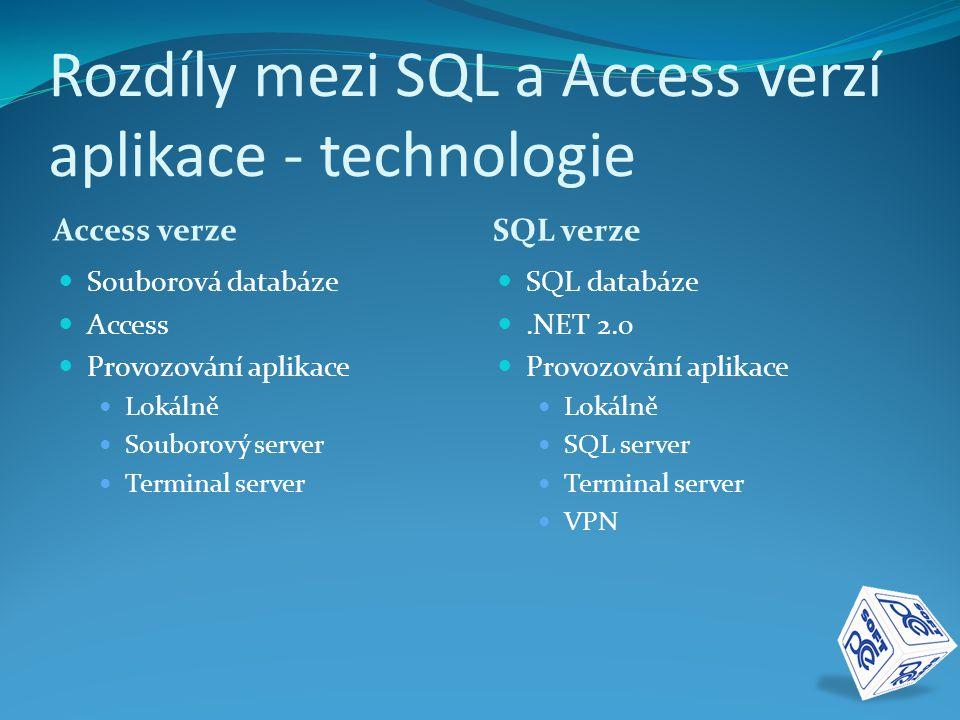 Rozdíly mezi SQL a Access verzí aplikace - práce s daty Access verze SQL verze  Velký datový tok  Nevhodné sdílení dat  Možnost nekonzistentního stavu dat  Nestabilita dat  Client / Server aplikace  Transakce  Robustnost  Automatická záloha dat a transakčních logů  Možnost obnovy dat k určitému času