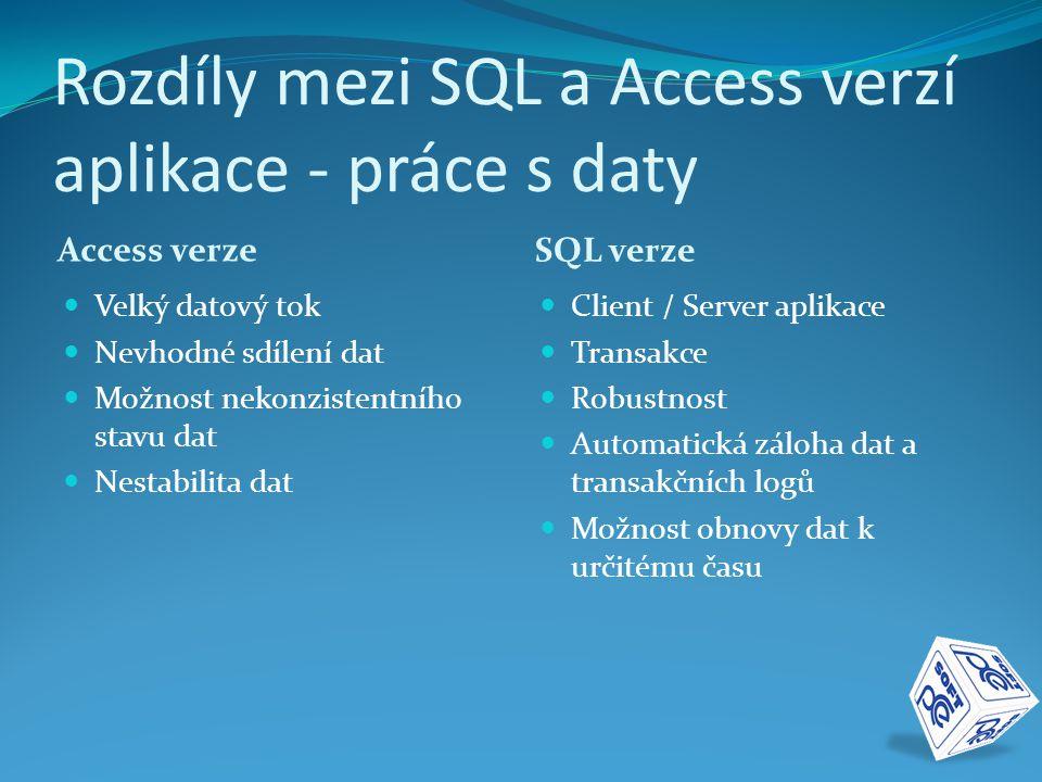 Rozdíly mezi SQL a Access verzí aplikace - vývojové prostředí Access verze.NET verze  Částečně OOP  Všechny objekty v jednom programu  Nemožnost úplného otestování  Úplně OOP  Vícevrstvá architektura  Automatické testování  Stabilita