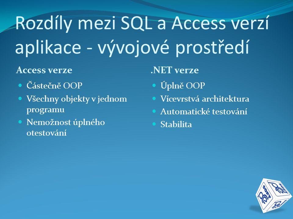Rozdíly mezi SQL a Access verzí aplikace - vývojové prostředí Access verze.NET verze  Částečně OOP  Všechny objekty v jednom programu  Nemožnost úp