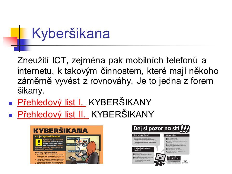 Kyberšikana Zneužití ICT, zejména pak mobilních telefonů a internetu, k takovým činnostem, které mají někoho záměrně vyvést z rovnováhy. Je to jedna z