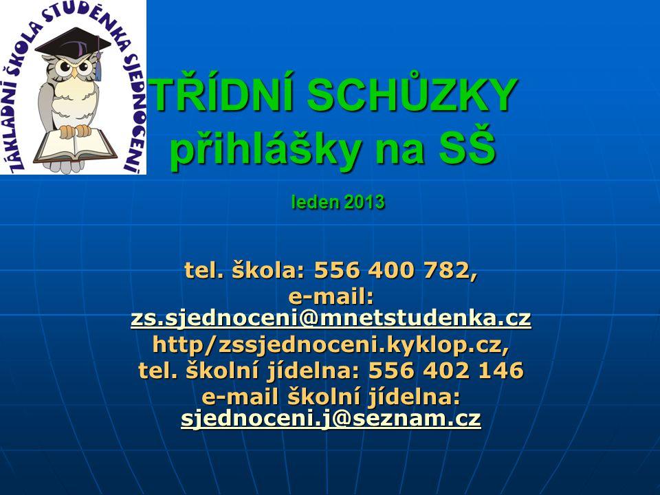 TŘÍDNÍ SCHŮZKY přihlášky na SŠ leden 2013 tel. škola: 556 400 782, e-mail: zs.sjednoceni@mnetstudenka.cz zs.sjednoceni@mnetstudenka.cz zs.sjednoceni@m