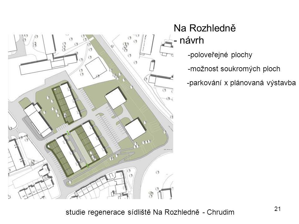 21 Na Rozhledně - návrh studie regenerace sídliště Na Rozhledně - Chrudim -poloveřejné plochy -možnost soukromých ploch -parkování x plánovaná výstavba