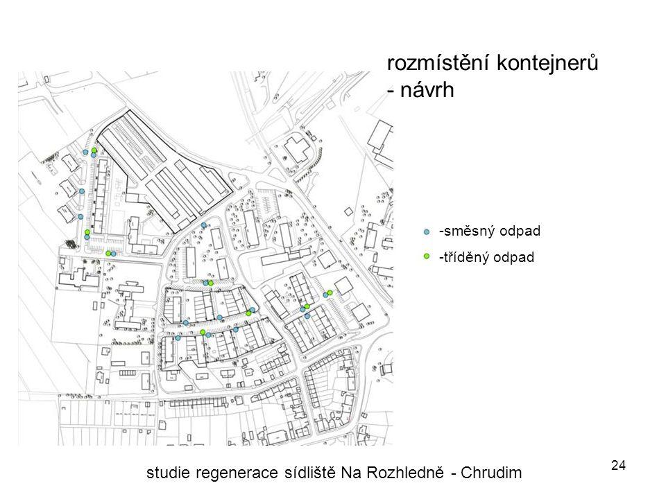 24 rozmístění kontejnerů - návrh studie regenerace sídliště Na Rozhledně - Chrudim -směsný odpad -tříděný odpad
