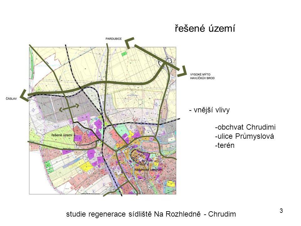 3 řešené území studie regenerace sídliště Na Rozhledně - Chrudim - vnější vlivy -obchvat Chrudimi -ulice Průmyslová -terén