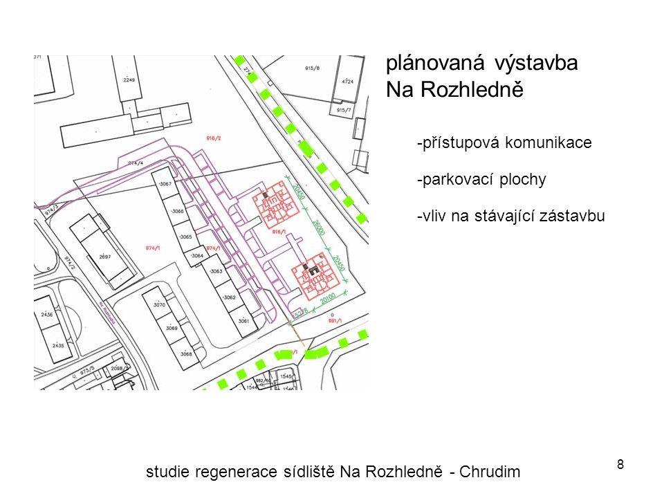 8 plánovaná výstavba Na Rozhledně studie regenerace sídliště Na Rozhledně - Chrudim -vliv na stávající zástavbu -přístupová komunikace -parkovací plochy