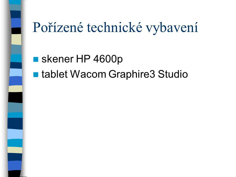 Pořízené technické vybavení  skener HP 4600p  tablet Wacom Graphire3 Studio