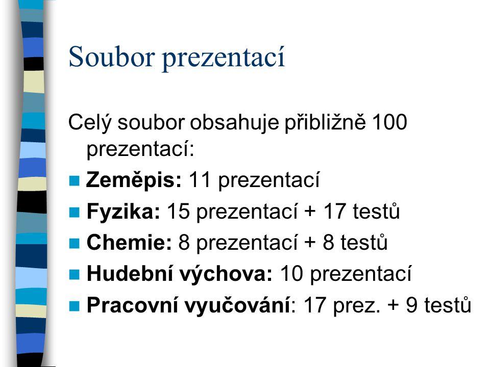 Soubor prezentací Celý soubor obsahuje přibližně 100 prezentací:  Zeměpis: 11 prezentací  Fyzika: 15 prezentací + 17 testů  Chemie: 8 prezentací + 8 testů  Hudební výchova: 10 prezentací  Pracovní vyučování: 17 prez.