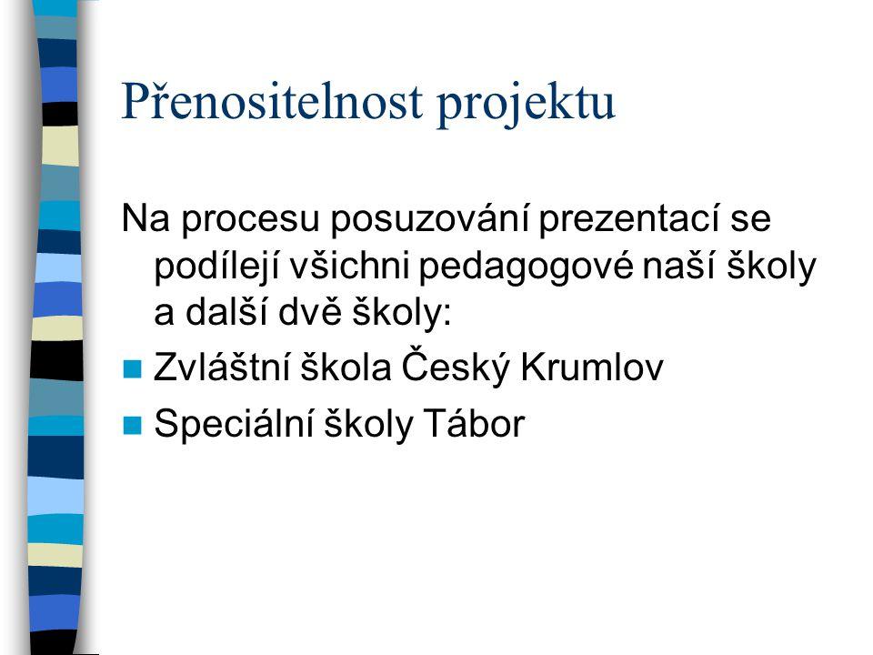 Přenositelnost projektu Na procesu posuzování prezentací se podílejí všichni pedagogové naší školy a další dvě školy:  Zvláštní škola Český Krumlov  Speciální školy Tábor