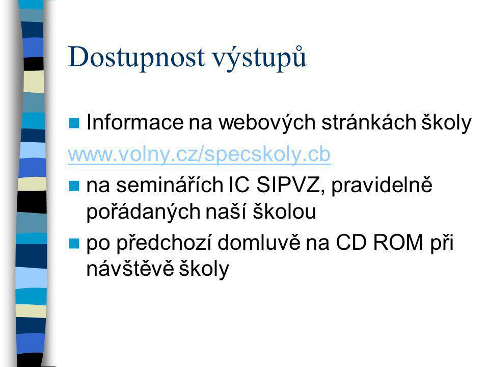 Dostupnost výstupů  Informace na webových stránkách školy www.volny.cz/specskoly.cb  na seminářích IC SIPVZ, pravidelně pořádaných naší školou  po