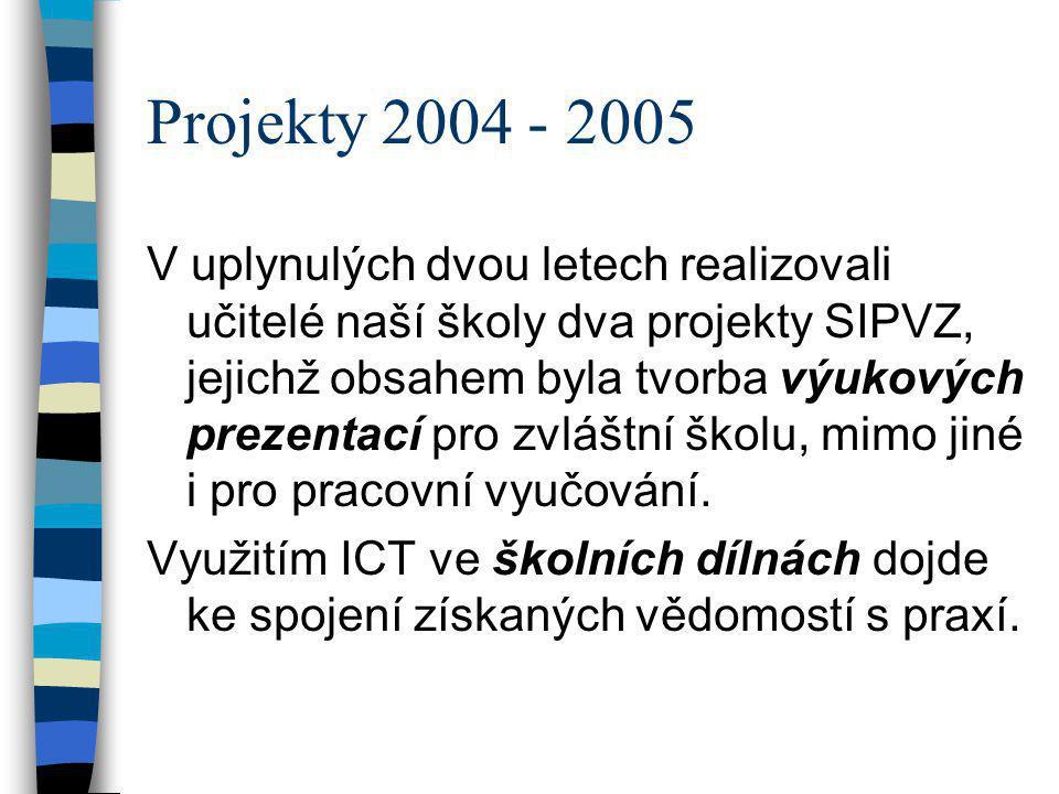 Projekty 2004 - 2005 V uplynulých dvou letech realizovali učitelé naší školy dva projekty SIPVZ, jejichž obsahem byla tvorba výukových prezentací pro
