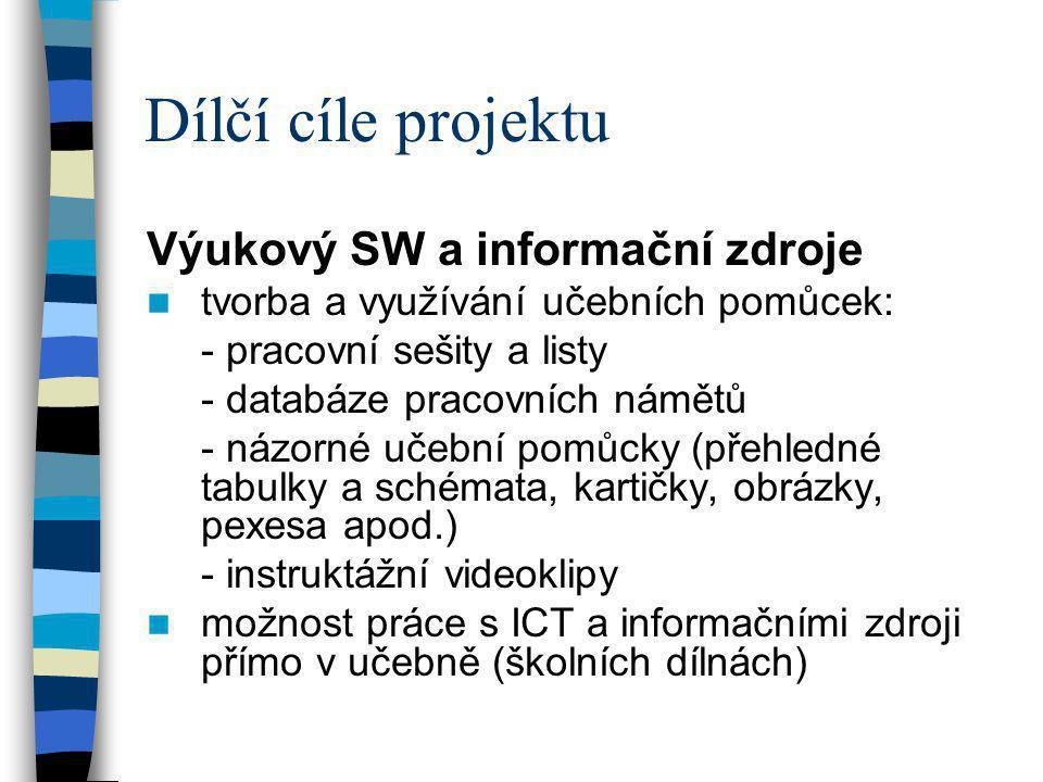 Dílčí cíle projektu Výukový SW a informační zdroje  tvorba a využívání učebních pomůcek: - pracovní sešity a listy - databáze pracovních námětů - náz