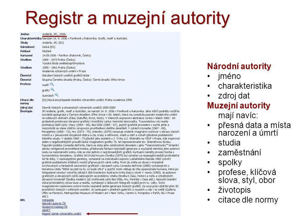 Registr a muzejní autority Národní autority •jméno •charakteristika •zdroj dat Muzejní autority mají navíc: •přesná data a místa narození a úmrtí •stu