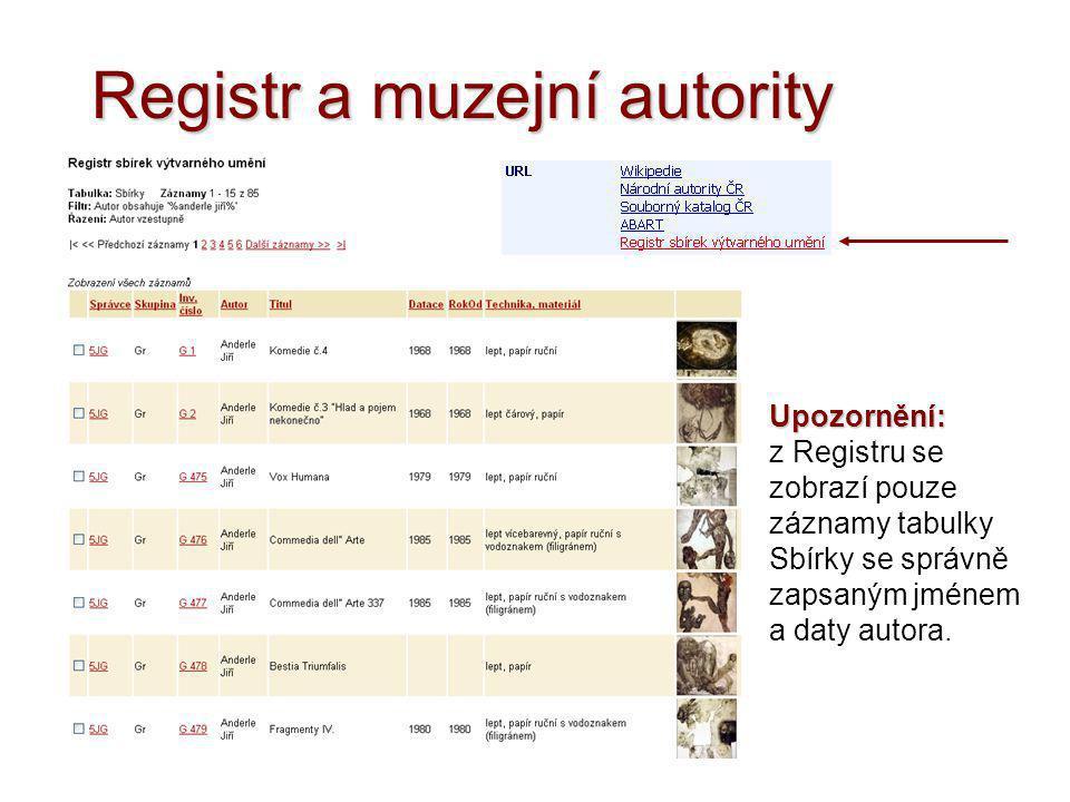 Registr a muzejní autority Upozornění: z Registru se zobrazí pouze záznamy tabulky Sbírky se správně zapsaným jménem a daty autora.