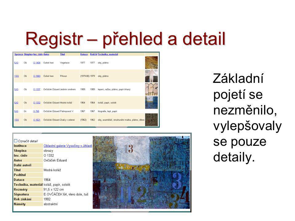 Registr – přehled a detail Základní pojetí se nezměnilo, vylepšovaly se pouze detaily.