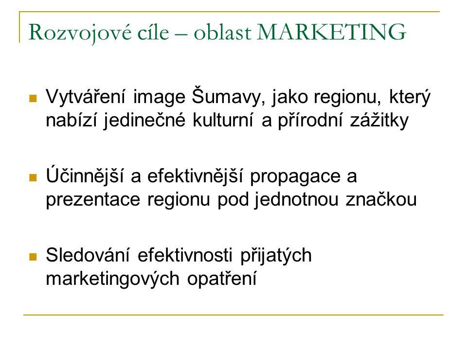 Rozvojové cíle – oblast MARKETING  Vytváření image Šumavy, jako regionu, který nabízí jedinečné kulturní a přírodní zážitky  Účinnější a efektivnější propagace a prezentace regionu pod jednotnou značkou  Sledování efektivnosti přijatých marketingových opatření