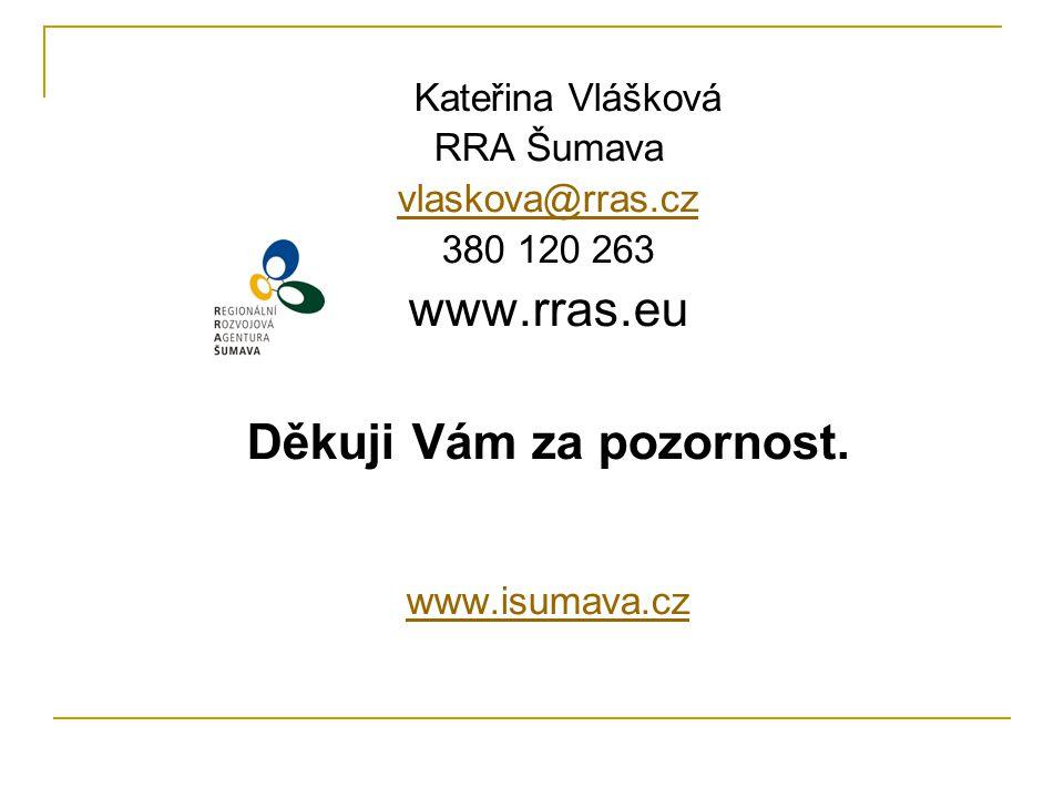 Kateřina Vlášková RRA Šumava vlaskova@rras.cz 380 120 263 www.rras.eu Děkuji Vám za pozornost.