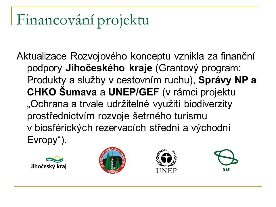 """Financování projektu Aktualizace Rozvojového konceptu vznikla za finanční podpory Jihočeského kraje (Grantový program: Produkty a služby v cestovním ruchu), Správy NP a CHKO Šumava a UNEP/GEF (v rámci projektu """"Ochrana a trvale udržitelné využití biodiverzity prostřednictvím rozvoje šetrného turismu v biosférických rezervacích střední a východní Evropy )."""