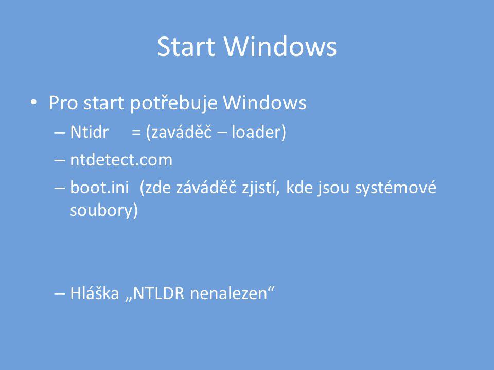 """Start Windows • Pro start potřebuje Windows – Ntidr = (zaváděč – loader) – ntdetect.com – boot.ini (zde záváděč zjistí, kde jsou systémové soubory) – Hláška """"NTLDR nenalezen"""