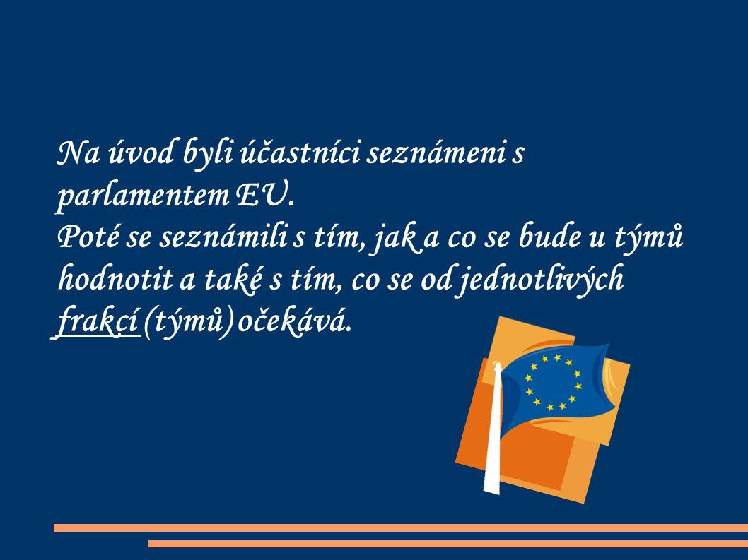 Na úvod byli účastníci seznámeni s parlamentem EU.