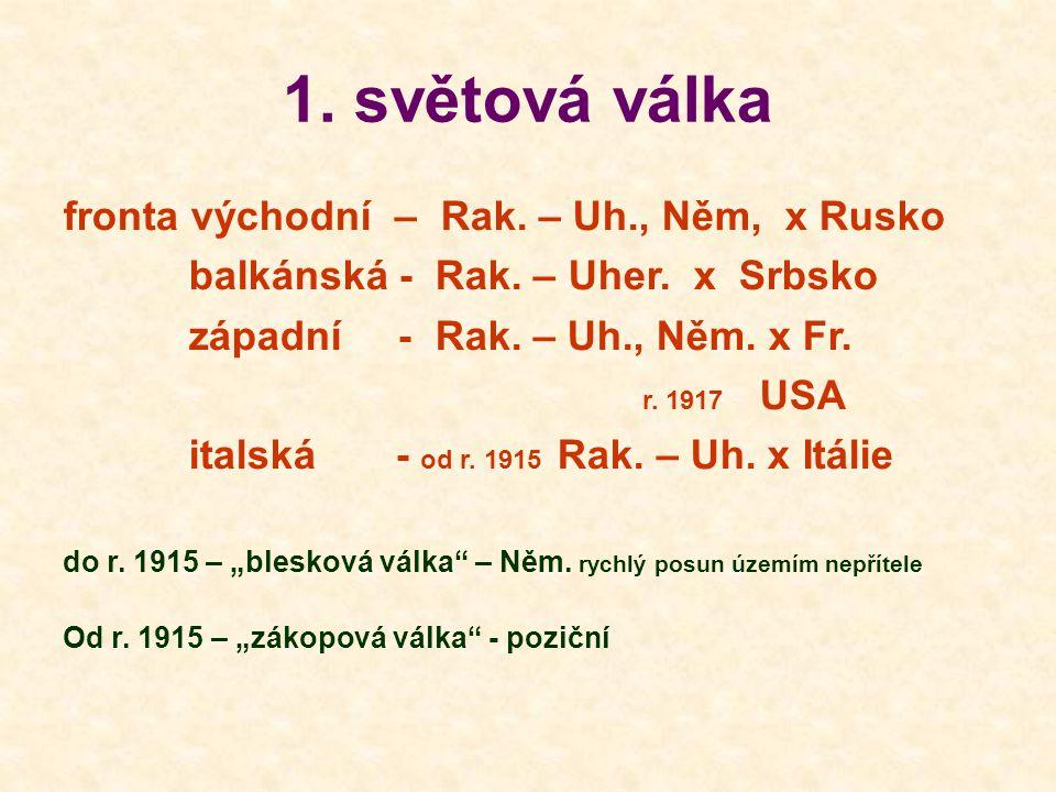 1.světová válka fronta východní – Rak. – Uh., Něm, x Rusko balkánská - Rak.